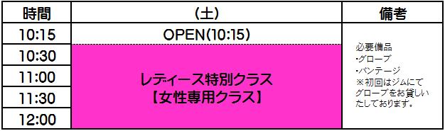 横浜キックボクシングジム  女性クラス時間割